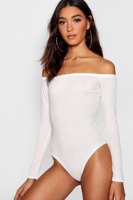 The Shoulder Bodysuit cream Off Tall Rib HUWnFxqv