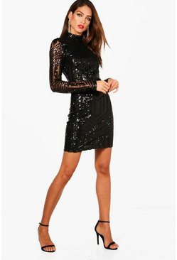 Tall Ava High Neck All Over Patterned Sequin Dress, Black