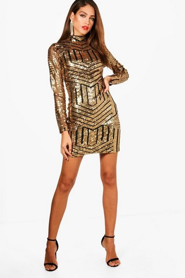 Womens Gold Tall Ava High Neck All Over Patterned Sequin Dress
