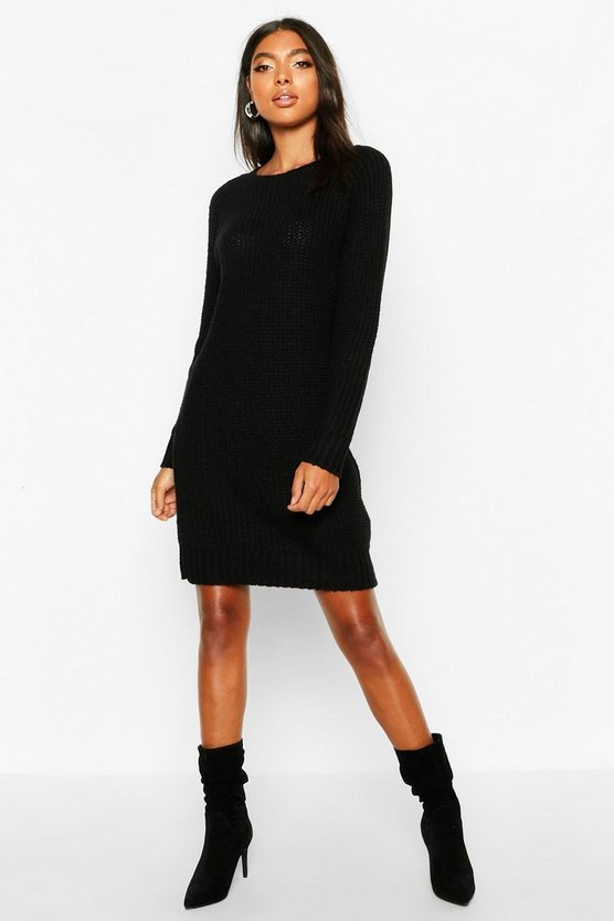 Womens Black Tall Soft Knit Sweater Dress