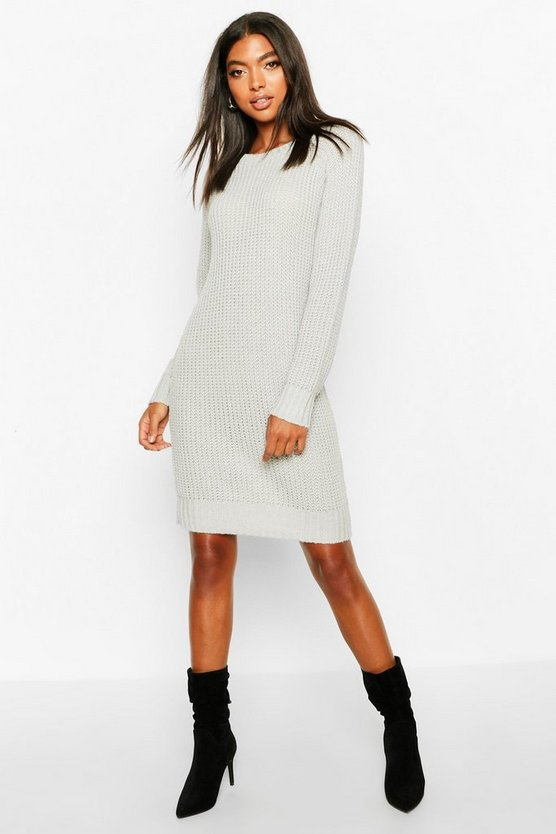 Womens Silver Tall Soft Knit Jumper Dress