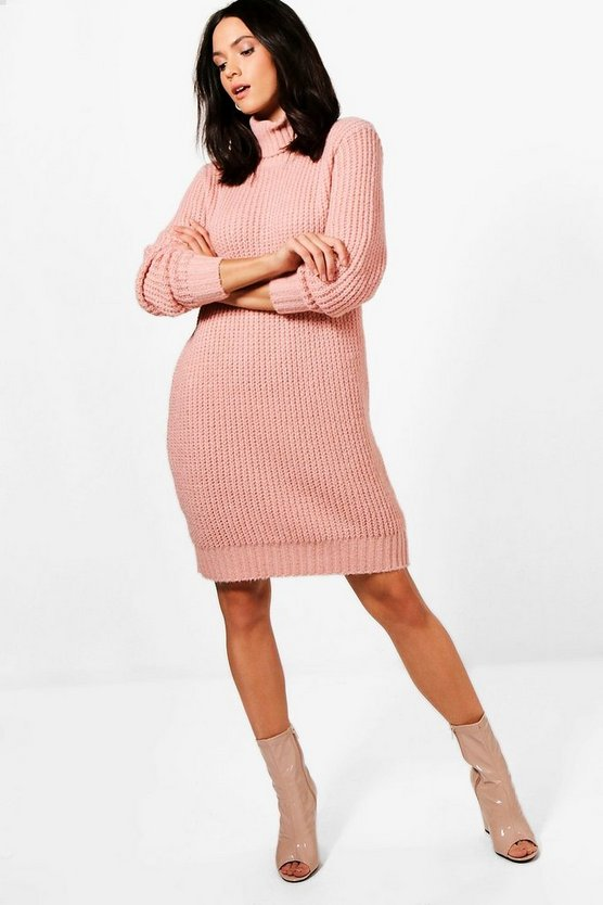 Tall  Soft Knit Roll Neck Jumper Dress