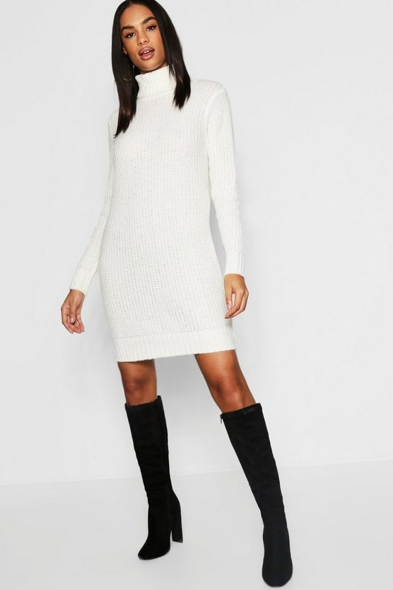 Womens Cream Tall Soft Knit Roll Neck Sweater Dress