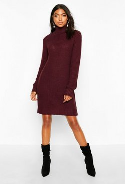 Crimson Tall  Soft Knit Roll Neck Jumper Dress