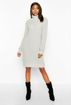 Womens Silver Tall Soft Knit Roll Neck Sweater Dress