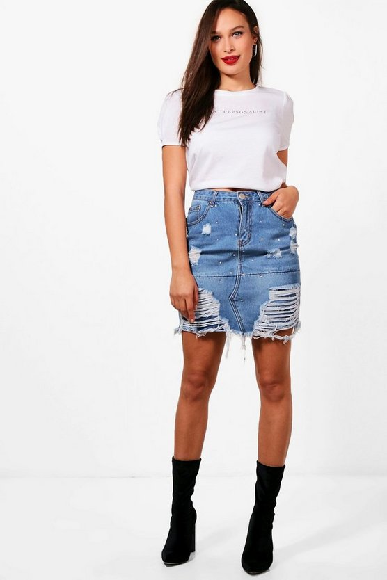 Womens Mid blue Tall  Distressed Diamante Denim Skirt