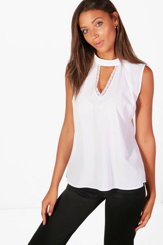 Tall High Neck Plunge Lace Woven Top