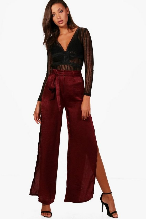 Tall Avery Satin Wide Split Leg Trouser