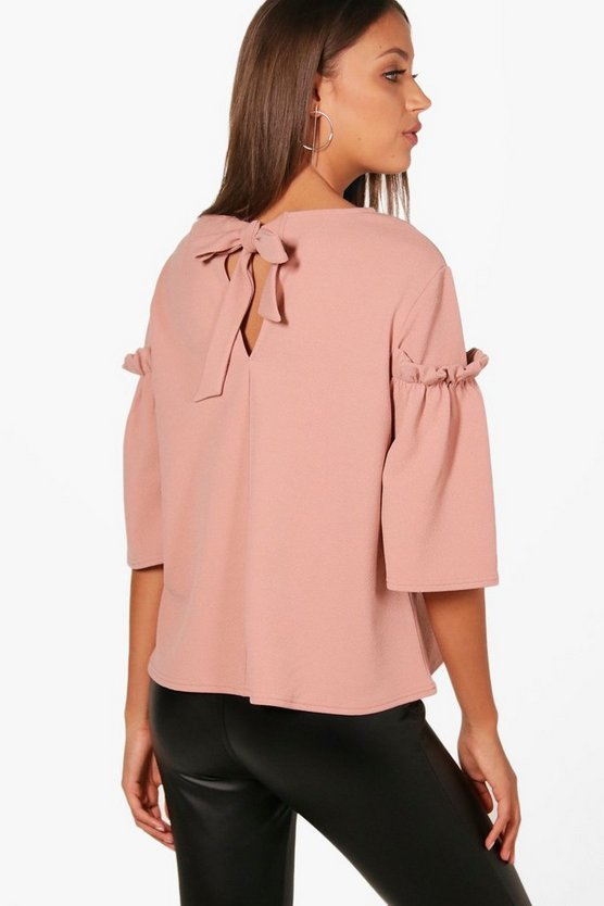 Tall Frill Sleeve Bow Back Top