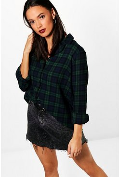 Tall  Checked Shirt, Green, Donna