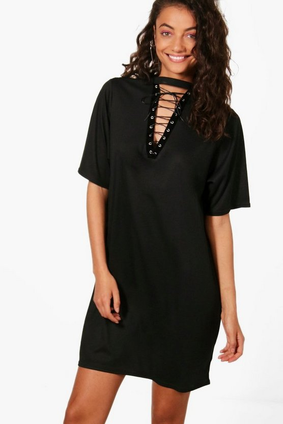 Tall Lottie Lace Up Oversized Ribbed Top