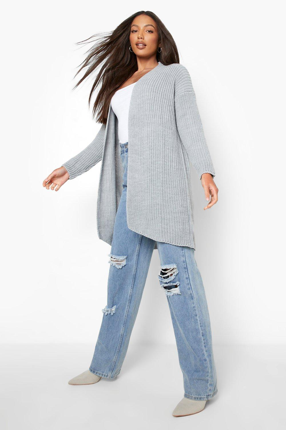 Fisherman Rib Cardigan Tall Tall grey Fisherman 0xfZwfHq