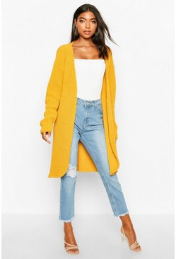 Womens Mustard Tall Fisherman Rib Cardigan