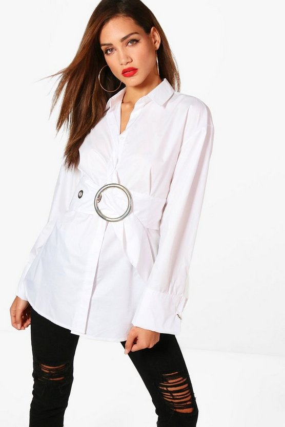 Womens White Tall Belted Oversized Shirt
