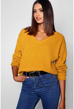 Womens Mustard Tall Oversized V Front Sweater