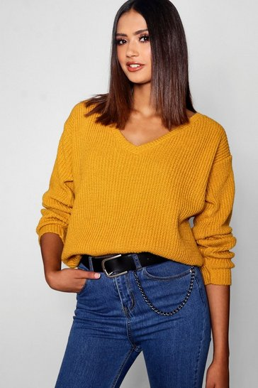Womens Mustard Tall Oversized V Front Jumper