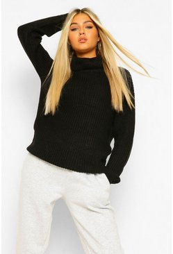 Womens Black Tall Roll Neck Sweater