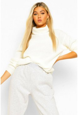 Womens Cream Tall Roll Neck Sweater