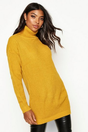 Mustard Tall Roll Neck Jumper
