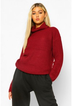 Wine Tall Roll Neck Jumper