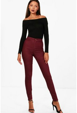 "Womens Burgundy Tall 38"""" Leg High Waist Jeans"