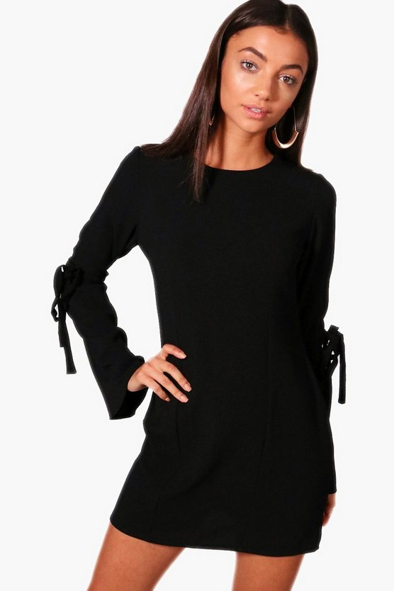 Tall Tie Sleeve Panel Woven Shift Dress