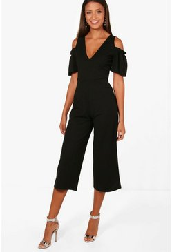 Womens Black Tall Cold Shoulder Culotte Jumpsuit