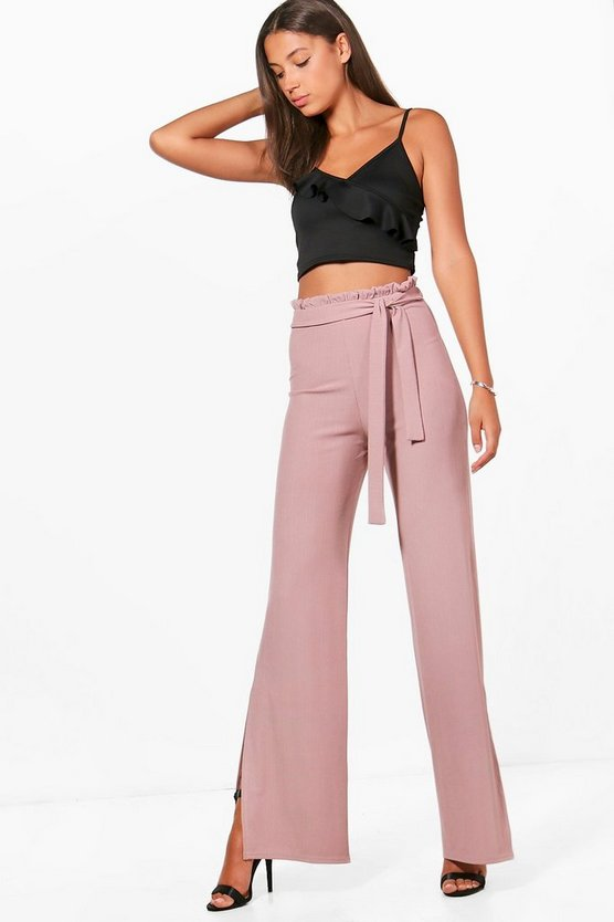 Tall Tie Waist Pleat Wide Leg Flares