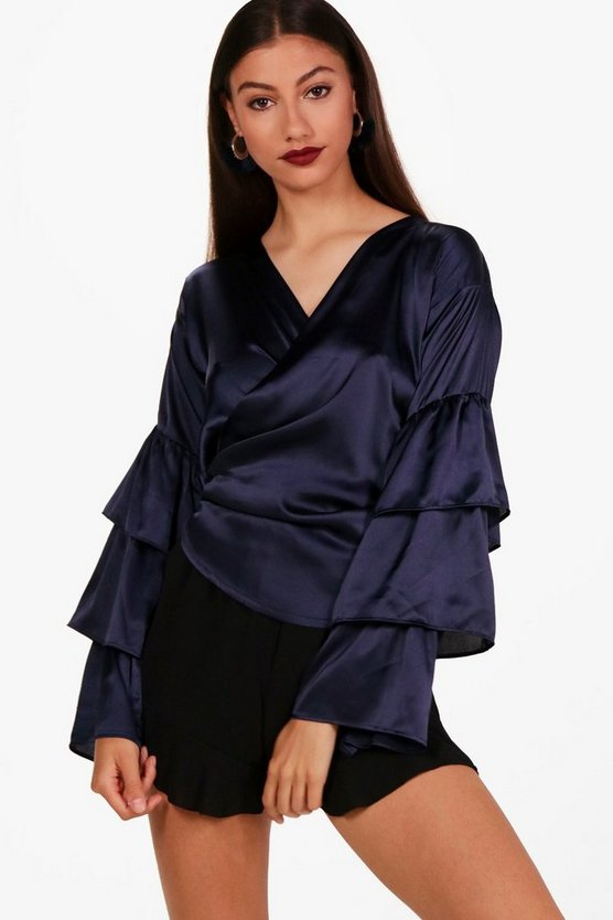 Tall Satin Tiered Sleeve Wrap Shirt