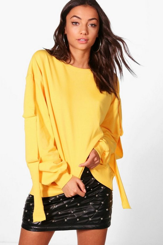 Womens Yellow Tall Aimee Distressed Hem Sweat