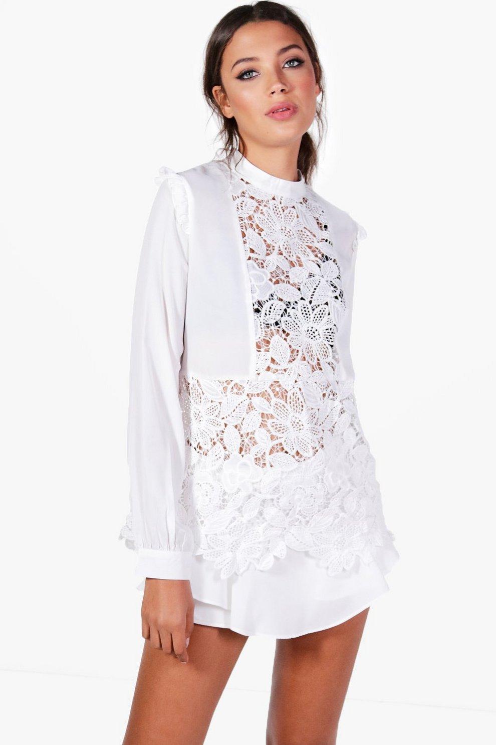 ab260f7003a Tall Elise Premium Lace Woven Shirt   Boohoo
