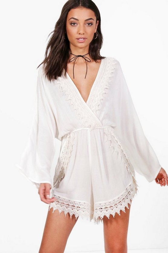 Tall Mollie Crochet Trim Flare Playsuit