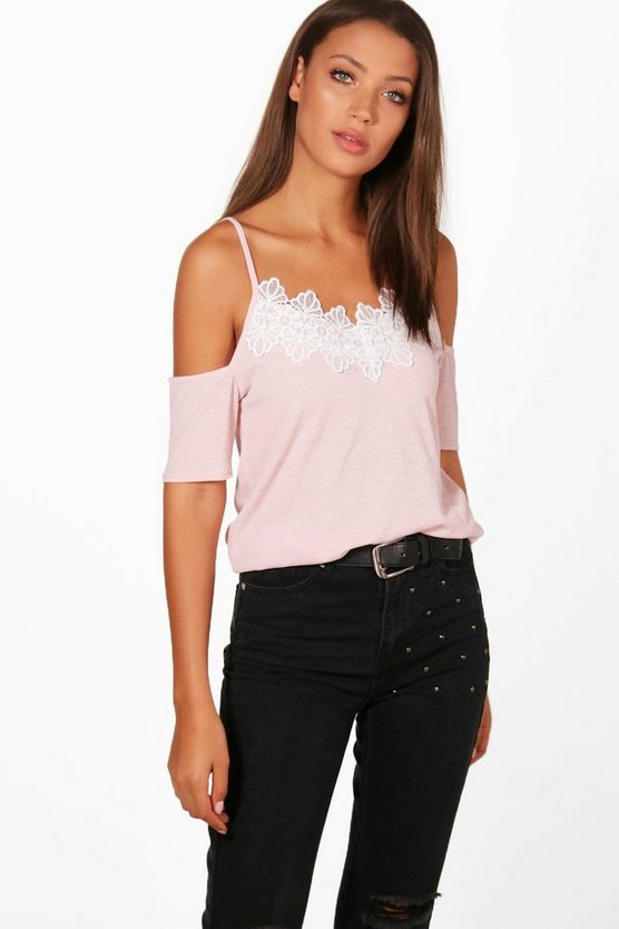 Tall Fiona Cold Shoulder Applique Top