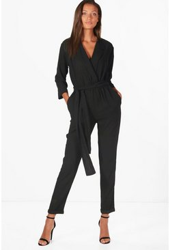 Womens Black Tall Collar Wrap Jumpsuit