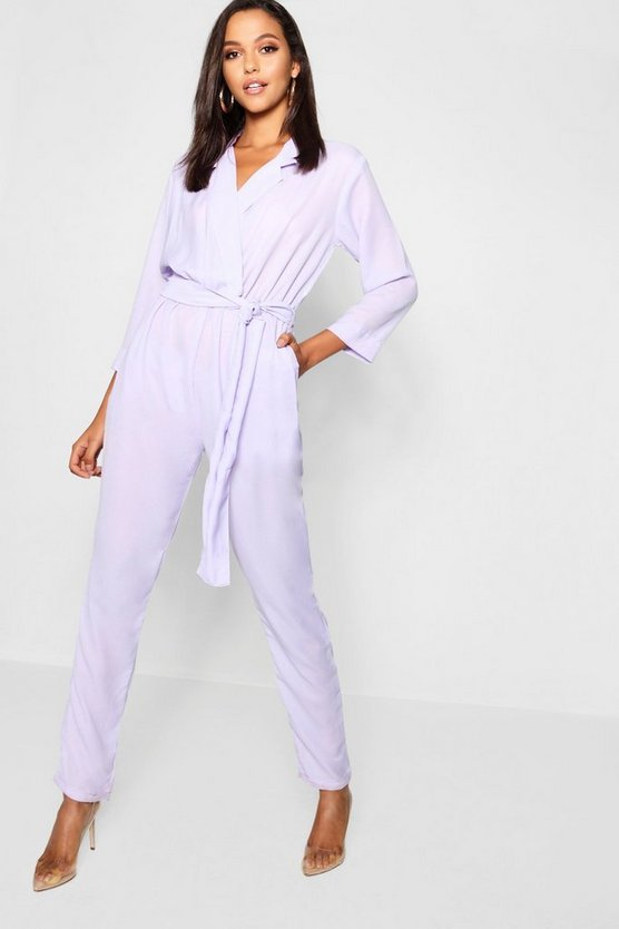 Tall Collar Wrap Jumpsuit