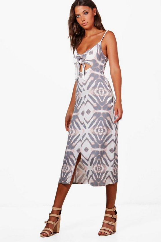 Tall Lucy Front Knot Printed Midi Dress