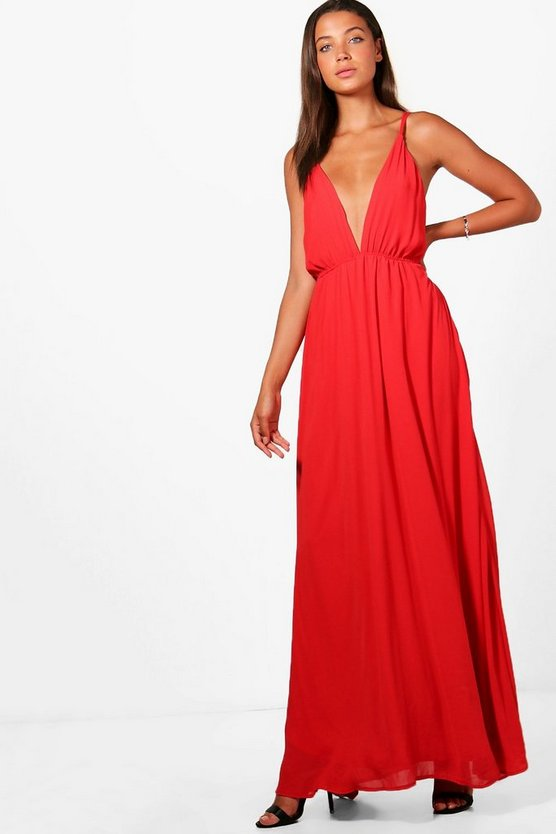 Tall Plunge Strappy Woven Maxi Dress