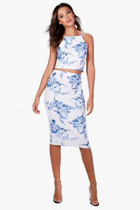 Tall Eva Porcelain Print Top & Midi Skirt Co-ord