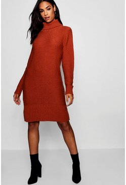 Womens Cumin Tall Roll Neck Jumper Dress