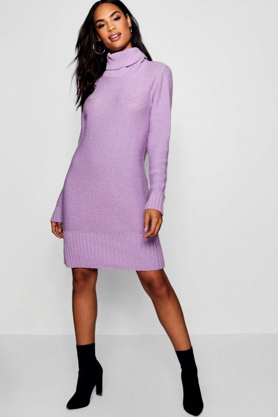 Womens Lilac Tall Roll Neck Jumper Dress