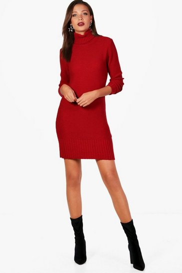 Womens Red Tall Roll Neck Jumper Dress