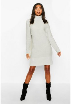 Womens Silver Tall Roll Neck Sweater Dress