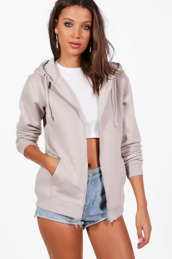 Womens Grey Tall Zip Through Hoodie