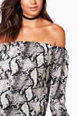 acfd659e93e7aa ... Tall Imogen Snake Print Off Shoulder Top alternative image
