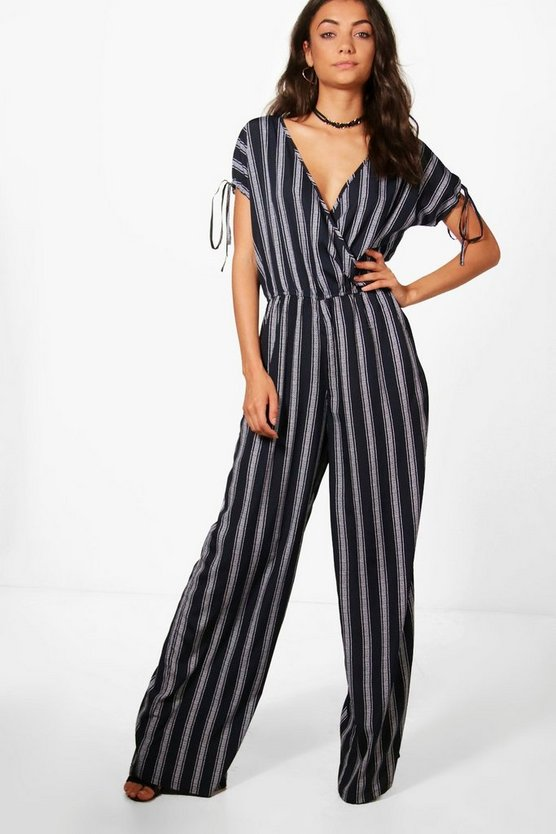 Tall Faye Wrap Front Wide Leg Jumpsuit