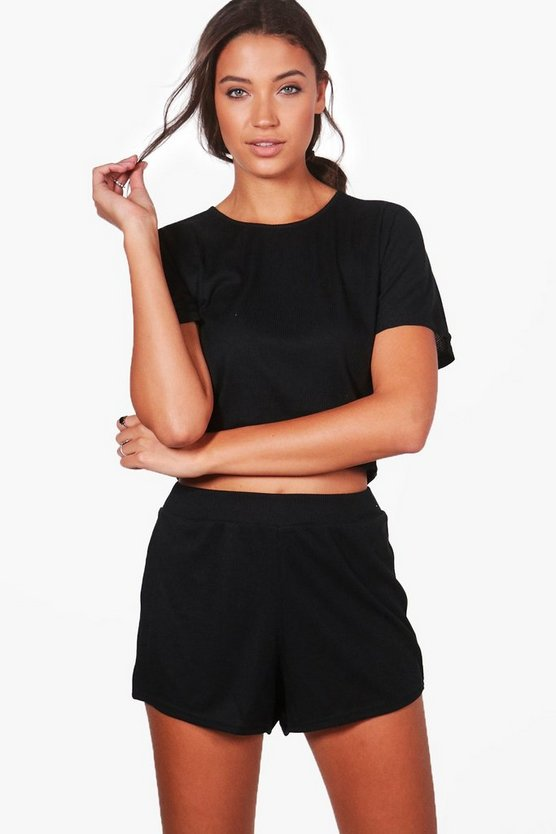 Womens Black Tall Amiee Rib Shorts & Tee Lounge Set