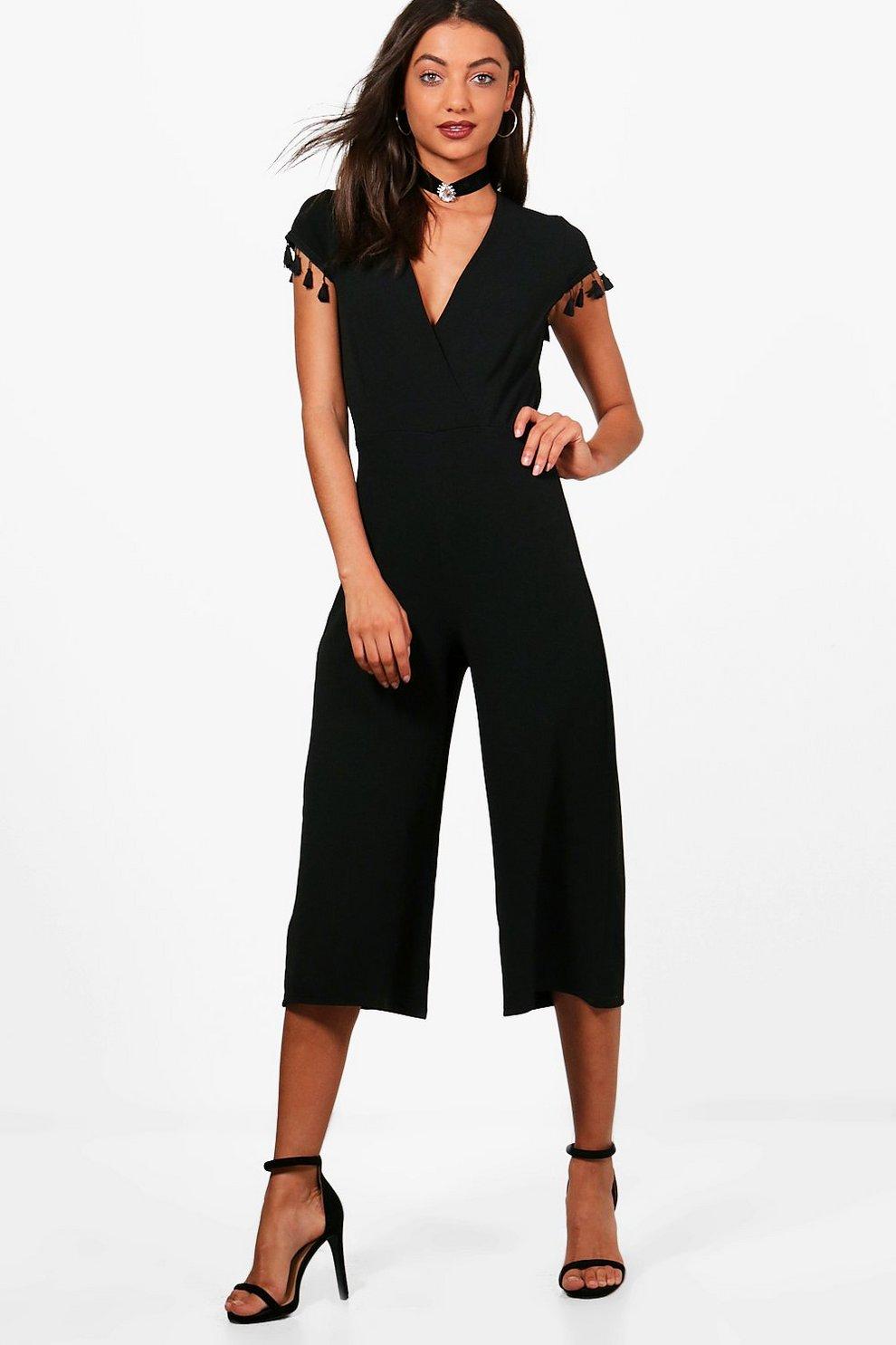 6b2903023926 Womens Black Tall Freya Tassle Trim Culotte Jumpsuit