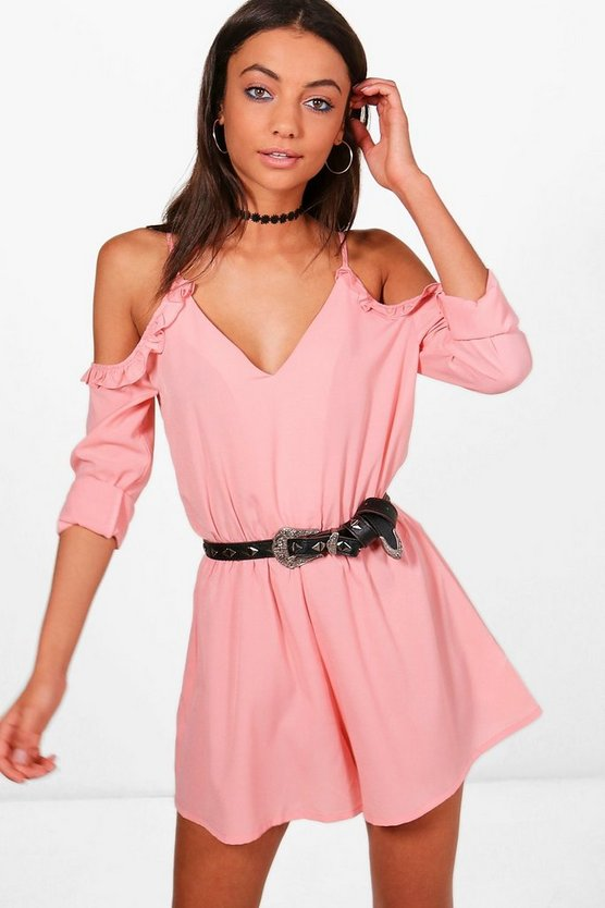 Tall Layla Cold Shoulder Frill Playsuit