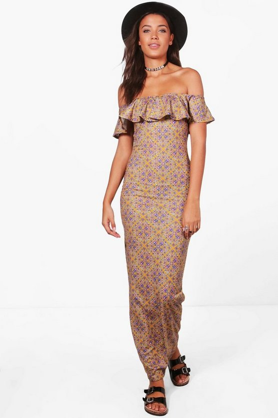 Tall Anna Printed Off The Shoulder Maxi Dress