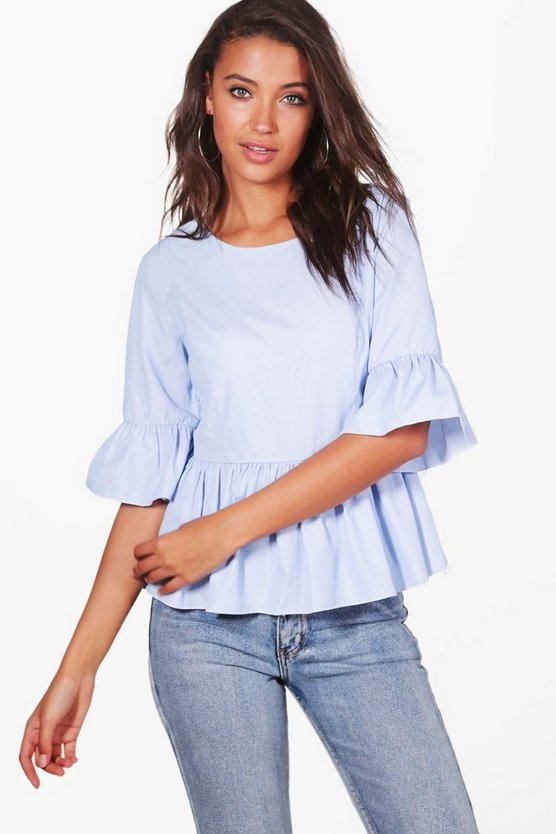 Tall Stripe Frill Sleeve Blouse